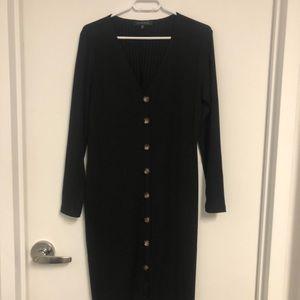 Dynamite Button-Front Midi Dress- Black XL